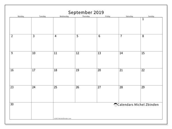 September 2019 Calendar, 53MS. Free printable monthly calendar.