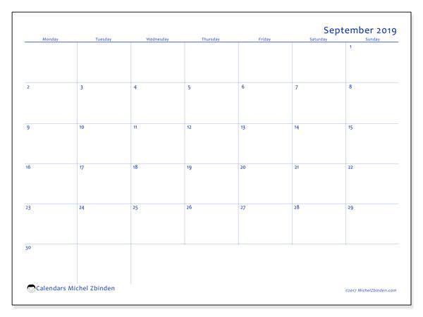 September 2019 Calendar, 55MS. Free printable monthly calendar.