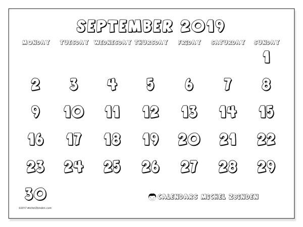 Calendar  September 2019, 56MS