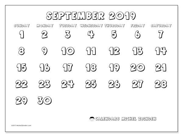 September 2019 Calendar, 56SS. Free printable bullet journal.