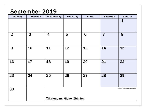 September 2019 Calendar, 57MS. Planner to print free.