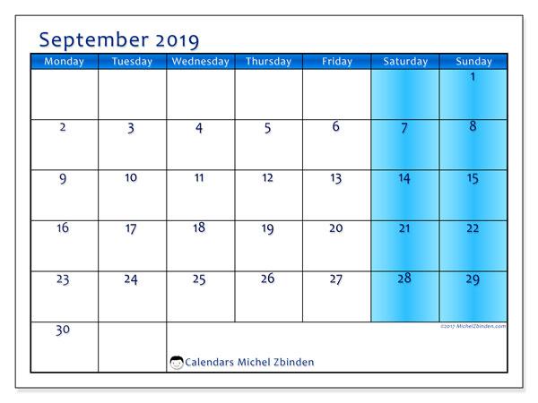 September 2019 Calendar, 58MS. Free printable monthly calendar.