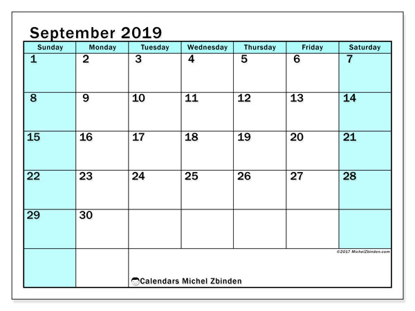 September 2019 Calendar, 59SS. Free printable monthly calendar.