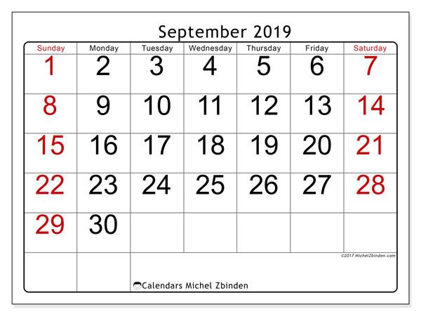 September 2019 Calendar, 62SS. Free printable bullet journal.