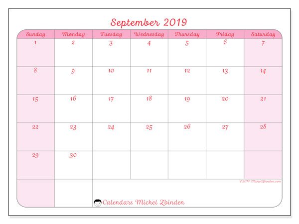September 2019 Calendar, 63SS. Free printable planner.