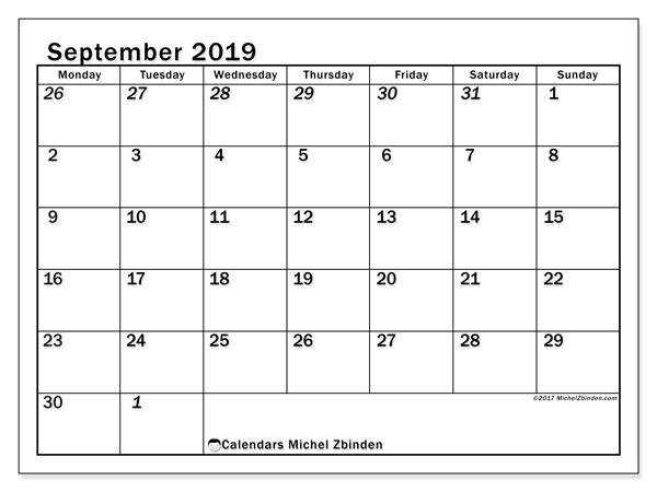 September 2019 Calendar, 66MS. Bullet journal to print free.