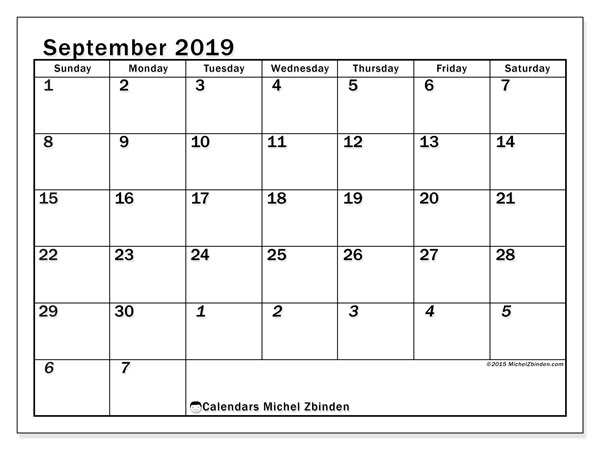 September 2019 Calendar, 66SS. Monthly calendar to print free.