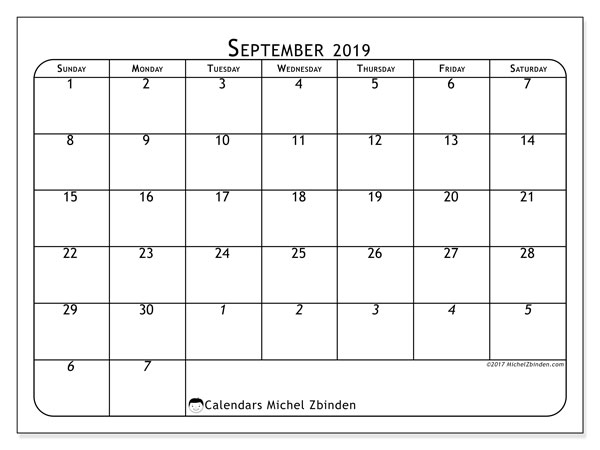 September 2019 Calendar, 67SS. Free printable calendar.