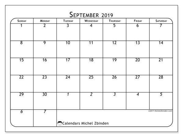 September 2019 Calendar, 67SS. Monthly calendar to print free.