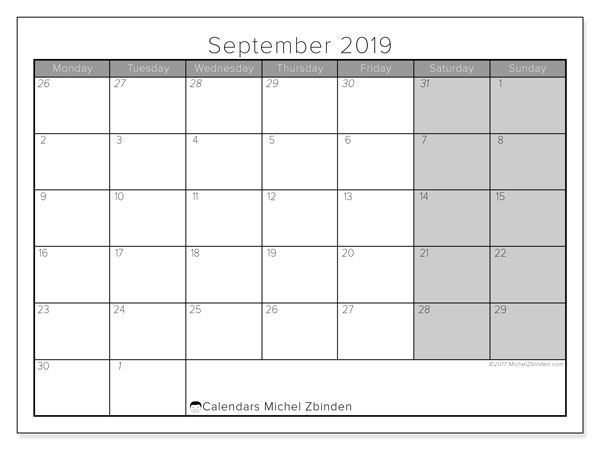 September 2019 Calendar, 69MS. Free printable monthly planner.