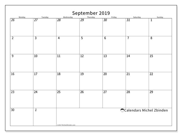 September 2019 Calendar, 70MS. Calendar to print free.