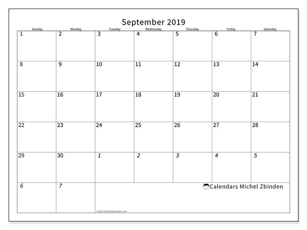 September 2019 Calendar, 70SS. Monthly planner to print free.