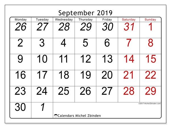 Calendar  September 2019, 72MS