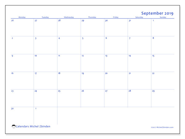 September 2019 Calendar, 73MS. Monthly planner to print free.