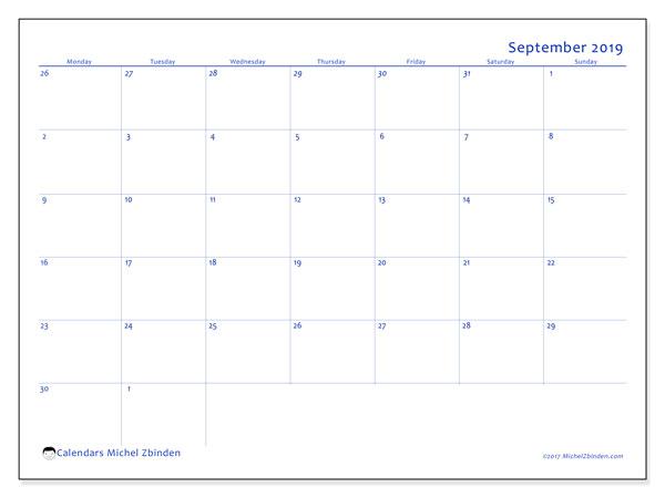 Calendar  September 2019, 73MS
