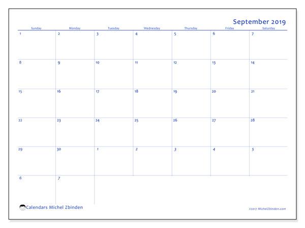 September 2019 Calendar, 73SS. Free printable monthly planner.