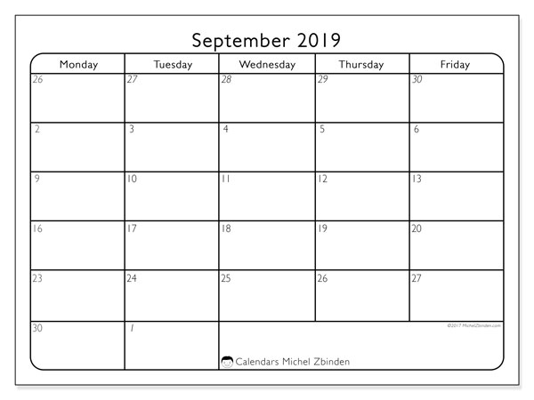 September 2019 Calendars (SS).  74MF.
