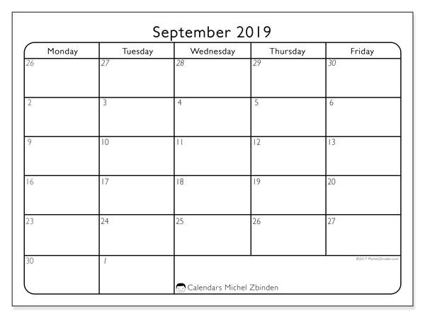 September 2019 Calendar, 74MS. Calendar to print free.