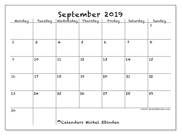September 2019 Calendar, 77MS. Monthly calendar to print free.