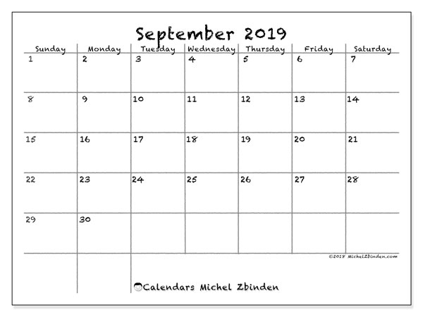 image about Printfree Com Calender known as September 2019 Calendar (77SS) - Michel Zbinden EN