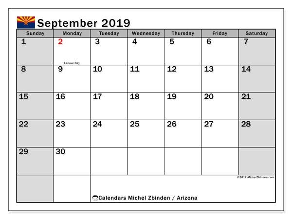 September 2019 Calendar, with the holidays of Arizona. Holidays calendar to print free.