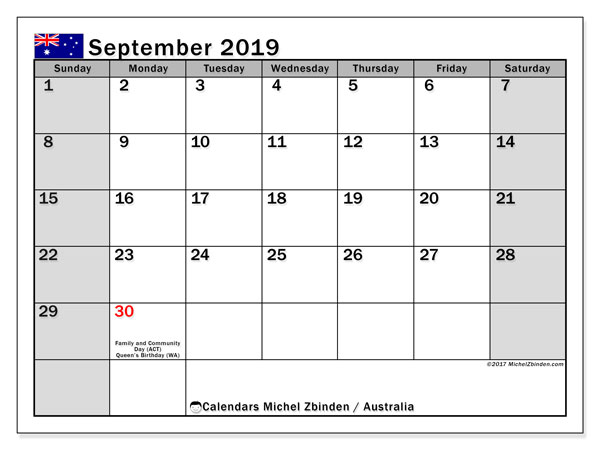 September 2019 Calendar, with the holidays of Australia. Free printable calendar with public holidays.