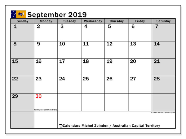 Calendar September 2019, with the holidays of Australian Capital Territory. Planner to print free.