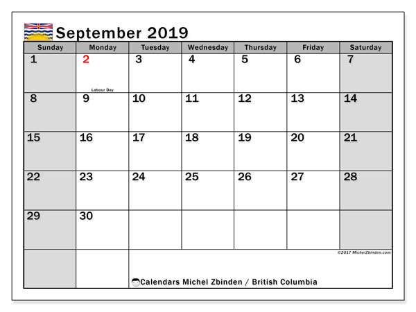 September 2019 Calendar, with the holidays of British Columbia. Free printable calendar with public holidays.