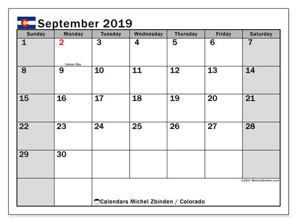 September 2019 Calendar, with the holidays of Colorado. Holidays calendar to print free.