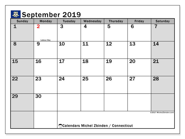 September 2019 Calendar, with the holidays of Connecticut. Holidays calendar to print free.