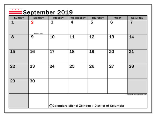 September 2019 Calendar, with the District of Columbia holidays. Holidays calendar to print free.