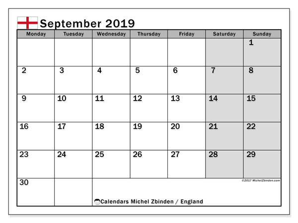 Calendar September 2019, with the holidays of England. Planner to print free.