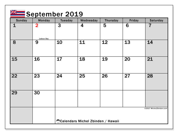 September 2019 Calendar, with the Hawaii holidays. Free printable calendar with public holidays.