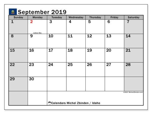 September 2019 Calendar, with the holidays of Idaho. Free printable calendar with public holidays.