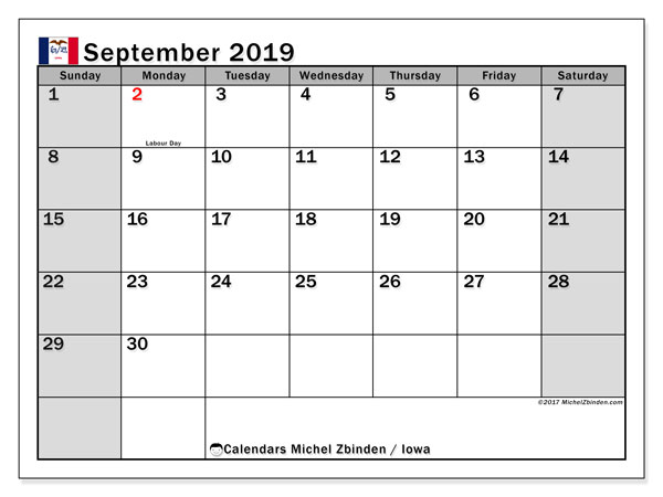 September 2019 Calendar, with the holidays of Iowa. Free printable calendar with public holidays.