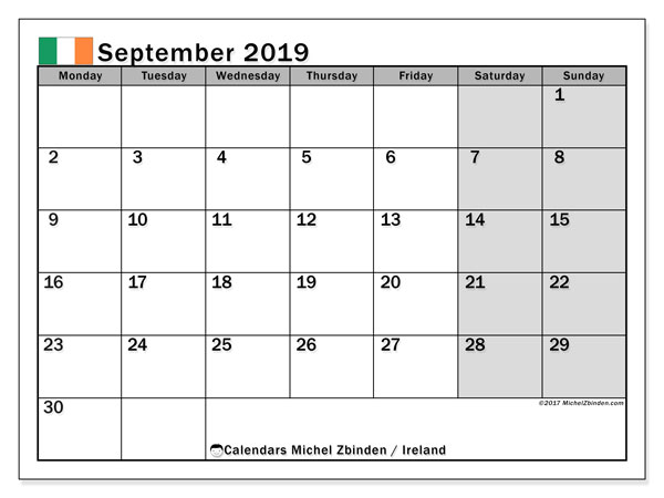 Calendar September 2019, with the holidays of Ireland. Free planner to print.