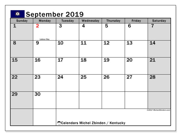 September 2019 Calendar, with the holidays of Kentucky. Holidays calendar to print free.