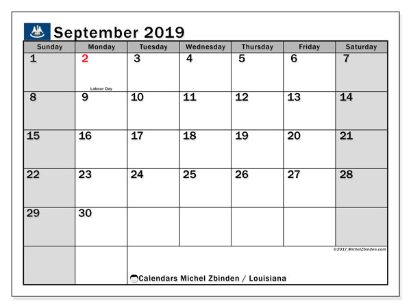 September 2019 Calendar, with the holidays of Louisiana. Holidays calendar to print free.