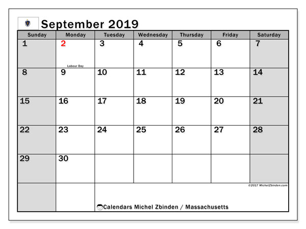 September 2019 Calendar, with the holidays of Massachusetts. Holidays calendar to print free.