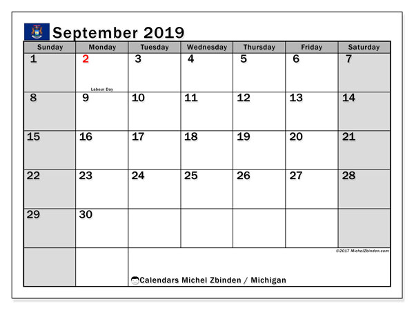 September 2019 Calendar, with the holidays of Michigan. Free printable calendar with public holidays.