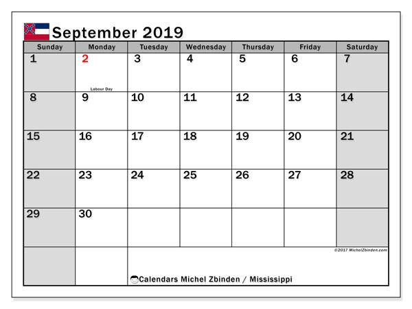 September 2019 Calendar, with the Mississippi holidays. Free printable calendar with public holidays.