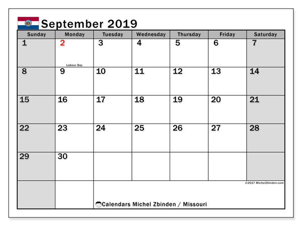 September 2019 Calendar, with the holidays of Missouri. Free printable calendar with public holidays.