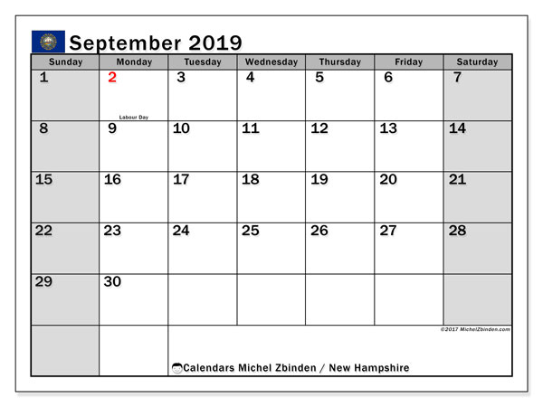 September 2019 Calendar, with the holidays of New Hampshire. Holidays calendar to print free.