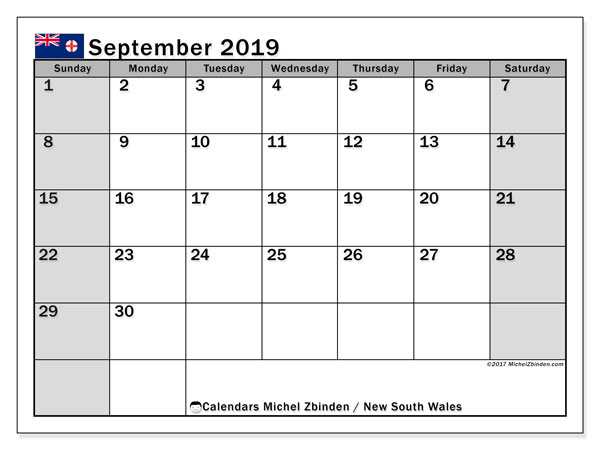 Calendar September 2019, with the holidays of New South Wales. Free planner to print.