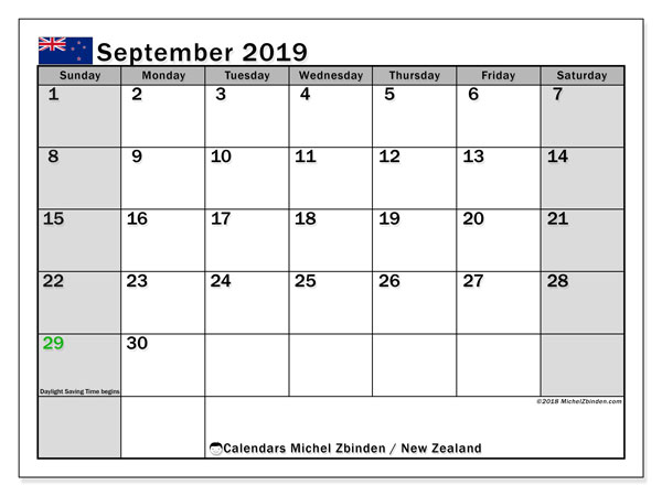 Calendar September 2019, with the holidays of New Zealand. Free printable monthly planner.