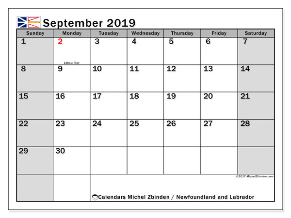 Calendar September 2019, with the holidays of Newfoundland and Labrador. Bullet journal to print free.