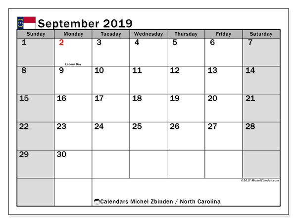 September 2019 Calendar, with the holidays of North Carolina. Free printable calendar with public holidays.