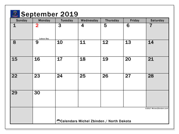 September 2019 Calendar, with the holidays of North Dakota. Free printable calendar with public holidays.