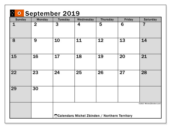 Calendar September 2019, with the holidays of Northern Territory. Free planner to print.