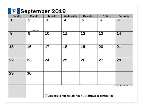 Calendar September 2019, with the holidays of Northwest Territories. Calendar for the month to print free.